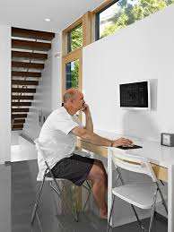 wall mounted home office. Ikea Workstation Ideas Home Office Modern With Glass Door White Desk Wood Stairs Wall Mounted
