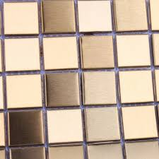 Small Picture Mosaic Tile Gold Square Aluminum Metal Wall Decoration Kitchen