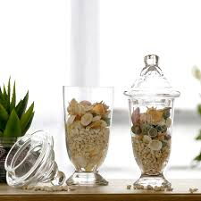 Decorative Glass Candy Jars High grade transparent high foot glass vase candy jar storage tank 73