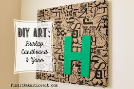 Diy Art Diy Art Burlap Cardboard Yarn Find It Make It Love It
