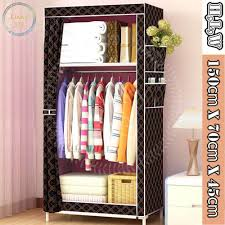 fashion cloth storage wardrobe 150cm x 70cm x 45cm checd brown