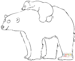 Small Picture Polar Bear Mother with Cute Baby coloring page Free Printable