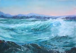 whipped sea west point burnie tasmania acrylic on canvas paper