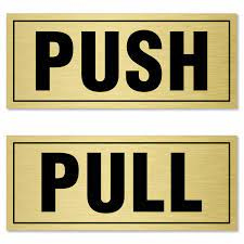 pull push labels for door pack of 2