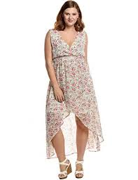 Meaneor Womens Plus Size V Neck Floral Printed Chiffon Maxi