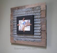 Pallet Picture Frame Corrugated Tin And Pallet Wood Frame My Repurposed Life