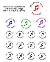 music note stamp personalised teacher school rubber stamp music notes praise reward