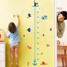 Details About Children Height Growth Chart Wall Sticker Kids Underwater Sea Fish Anchor