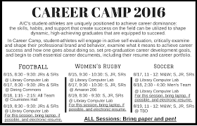 events workshops career events workshops myaic this the saremi center will be rolling out career camp a dedicated time and space for aic s athletes to engage in self evaluation and plan for