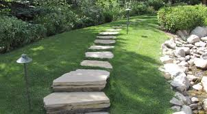 Flagstone pathway set in turf