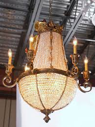 antique bronze french crystal beaded basket chandelier 2