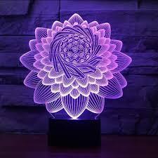 Amazon Com Shuangklei 3d Lotus Flower Shape Table Lamp 7
