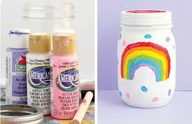 mason jar with rainbow painted on
