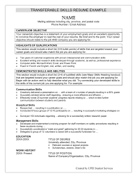 List Of Skills For Employment Transferable Skills Resume Example