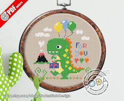 So Op131 Dinosaur Instant Pdf Download Printable Cross Stitch Pattern Chart Of Sodastitch