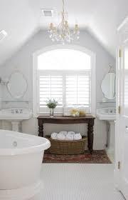 Full White Attic Bathroom Ideas With Double Sink And White Bathtub ...