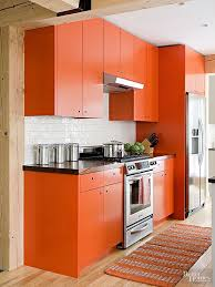 Orange color kitchen cabinet modern-kitchen