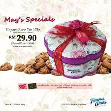 famous amos msia elegant rose tin 175g cookies gift