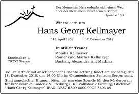 Hans Georg Kellmayer Trauer Traueranzeigen Nachrufe Badische