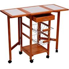 leaf kitchen cart: homcom portable rolling tile top drop leaf kitchen trolley cart