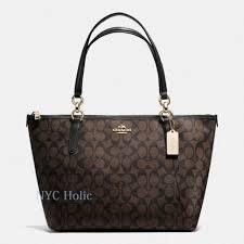 Coach Signature Coated Canvas Ava Tote Handbag - Brown (F55064)   eBay