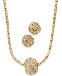 Charte Club Charter Club Gold Tone Pave Crystal Ball Necklace And Earring Jewelry Set