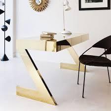 home office interiors. Brass Mirrored Desk, Black Chair \u0026 Mid-century Modern Lamps #office #workspace. Desk SetupHome InteriorsOffice Home Office Interiors