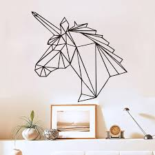 geometric unicorn wall sticker removable horse head vinyl decals home decor for kids rooms decoration new design removable wall stickers decor removable