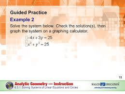 of linear equations and circles guided practice example 2 solve the system below