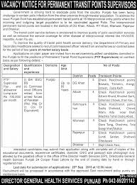 job of permanent transit points supervisors in polio campaign punjab government jobs 2016