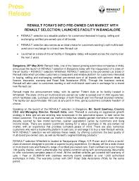 new car launches in bangaloreRenault India Used Cars Launch  Press Release