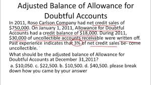 allowance for uncollectible accounts balance sheet allowance for doubtful accounts balance sheet example youtube