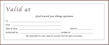 Free Restaurant Gift Certificate Template Printable Certificates
