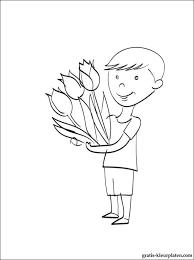 Jongen Met Een Boeket Van Bloemen Gratis Kleurplaten