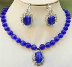 blue opal round beads gems pendant necklace earring set 18 2017 watch whole