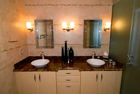 image top vanity lighting. Bathroom Decorating Ideas Using Dark Brown Granite Vanity Top Including White Wooden Double Image Lighting