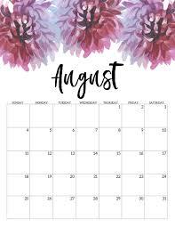 August Calandar Cute August 2019 Calendar Floral Print Calendar Free