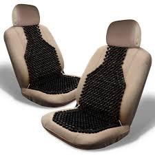zone tech set of 2 classic black double strung wooden beaded ultra comfort massaging car seat cushion com