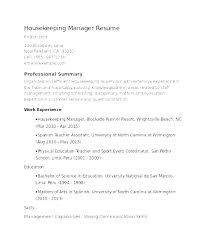 Housekeeping Resume Examples Domestic Housekeeper Hotel Housekeeping