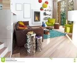 Luxe Grote Woonkamer In De Stijl Van Kitsch Stock Foto Afbeelding