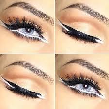 black and white eyeliner eye makeup look