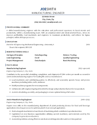 Manufacturing Design Engineer Sample Resume