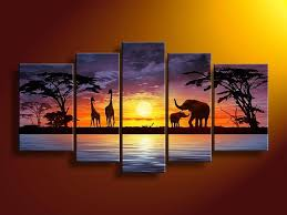 wall art paintings hand painted wall art african elephants deer home decoration modern landscape oil painting on canvas 5pcs