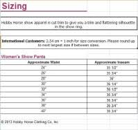 Hobby Horse Chaps Size Chart Hobby Horse Western