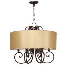 drum light chandelier. World Imports Rue Maison 6-Light Iron And Euro Bronze Chandelier With Beige Drum Shade Light