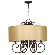 world imports rue maison 6 light iron and euro bronze chandelier with beige drum shade