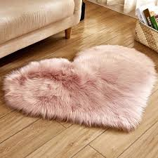 white pink love heart shaped faux fur non slip bedroom gy rugs living room fluffy mat