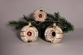 3 Reflexkugeln 8 Cm Eis Champagner Mit Braun Lauschaer Weihnachtskugeln