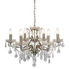 paris 6 light chandelier clear crystal drops trim antique brass 8736 6ab