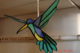 custom made 3d flying stained glass hummingbird in green blue and yellow sz 8 1